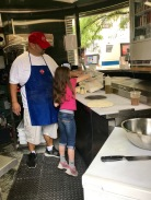 Mario showing my friend Lucy's daughter how to make pizza